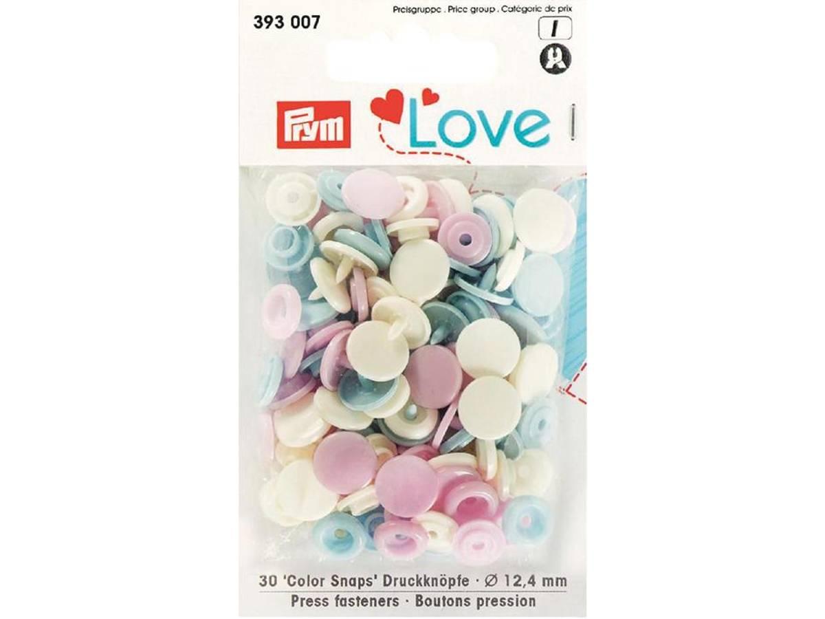 Prym Love – Non-sew Color Snaps – Lys rosa/hvit/lysblå